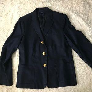Chaps Navy Blue 3 Button Linen Career Blazer